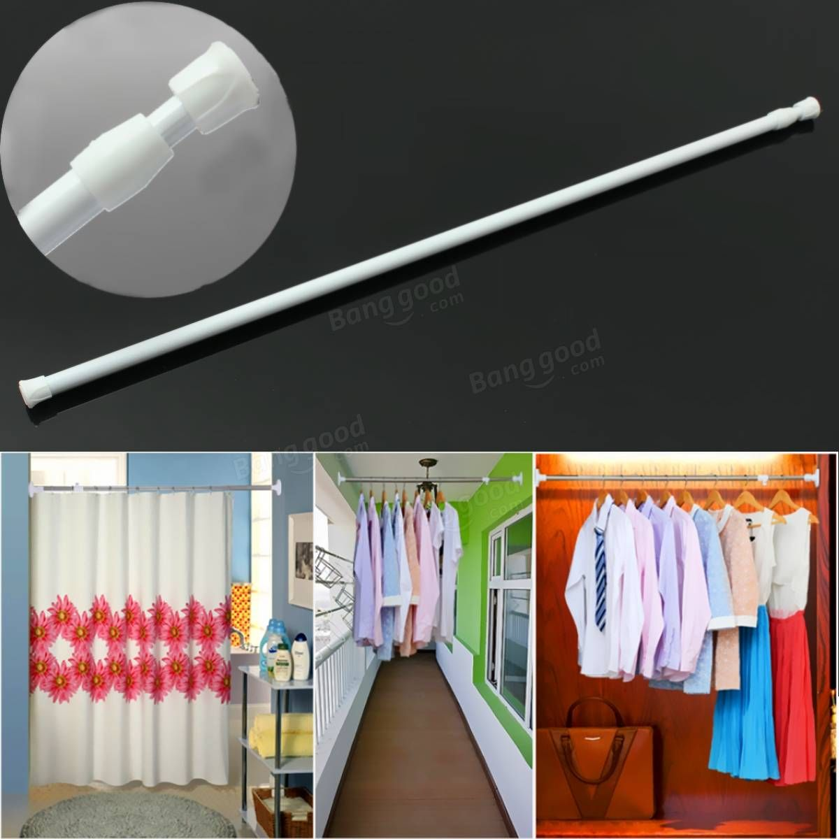 50-80cm Extendable Adjustable Spring Tension Curtain Rod