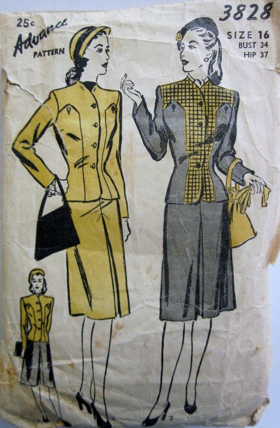 Advance 3828 Womens Suit Jacket and Skirt 1940s by Denisecraft, $15.99