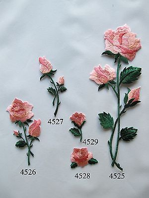 """6/"""" LONG STEM Pink Rose Embroidery Patch"""