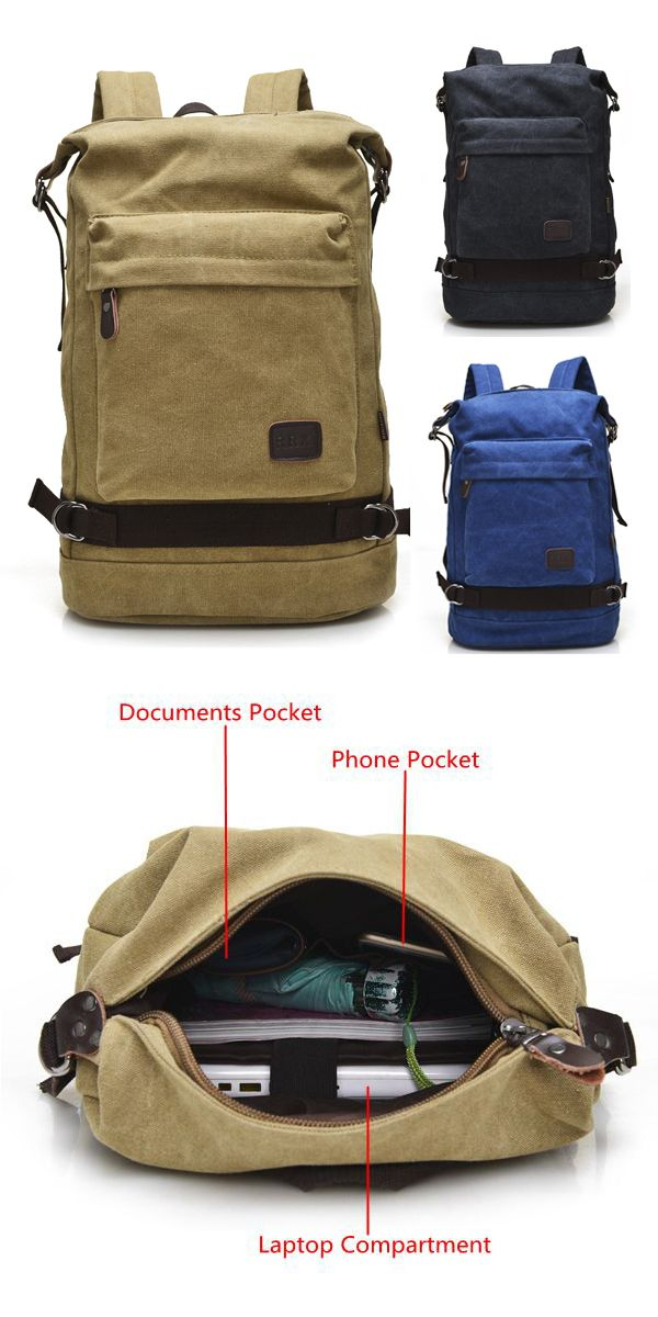 Big Capacity Casual Canvas Travel Backpack Laptop Compartment ...