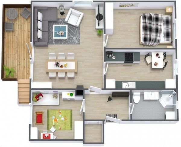 2 Bedroom Apartment/House Plans Apartment layout Pinterest