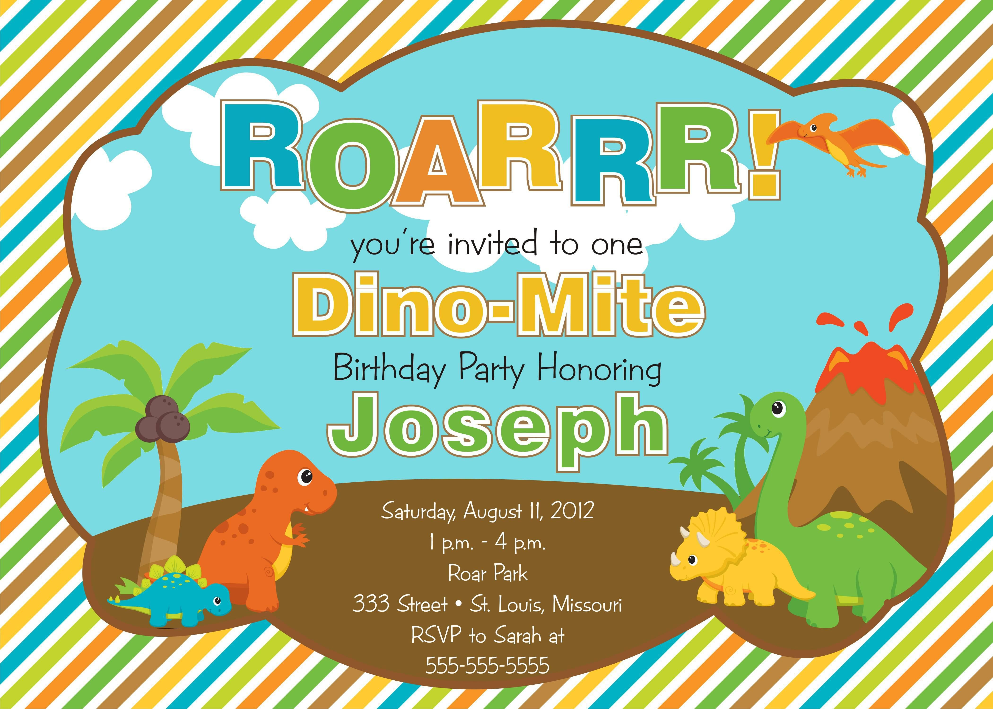 Dinosaur Birthday Party Invitations Kids Card Templates