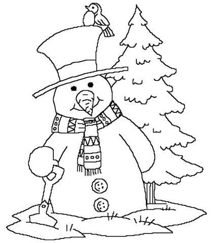 Muñeco de Nieve cerca del árbol de Navidad Dibujo para colorear ...