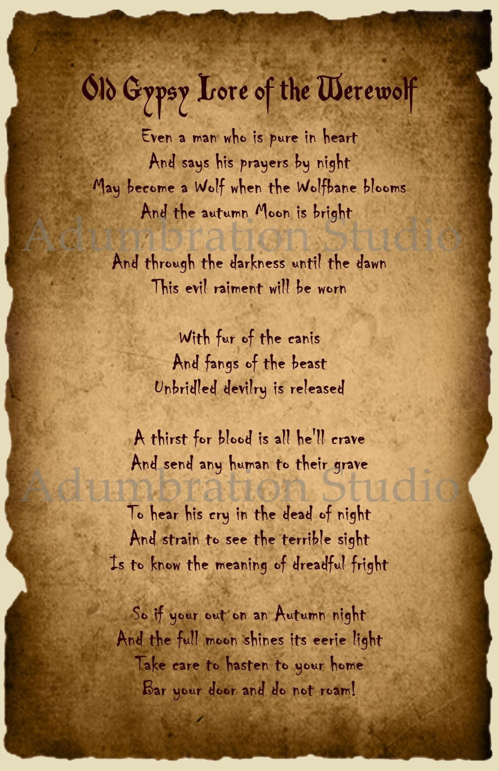 Old Gypsy Lore of the Werewolf Parchment Print, Gy