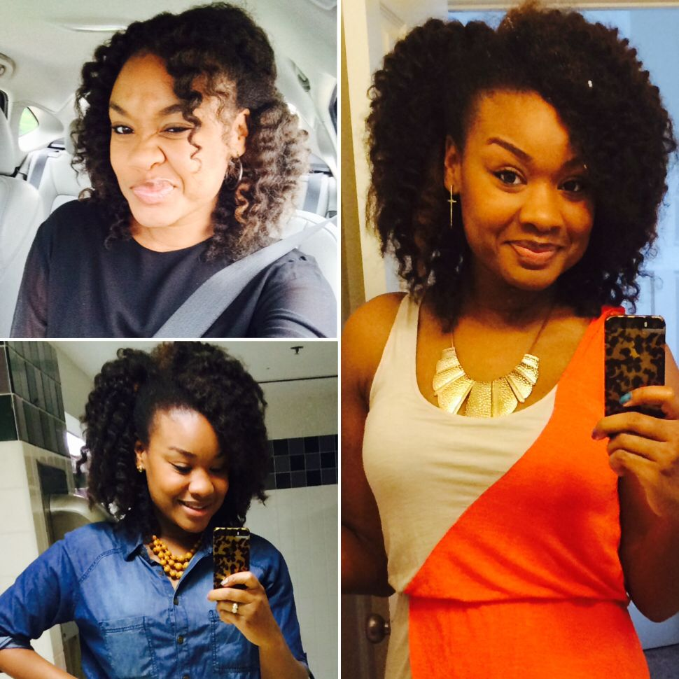 Top left picture after weeks with my marley crochet braids