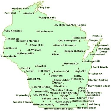 Wisconsin State Park Map | camp | Wisconsin state parks, Wisconsin ...