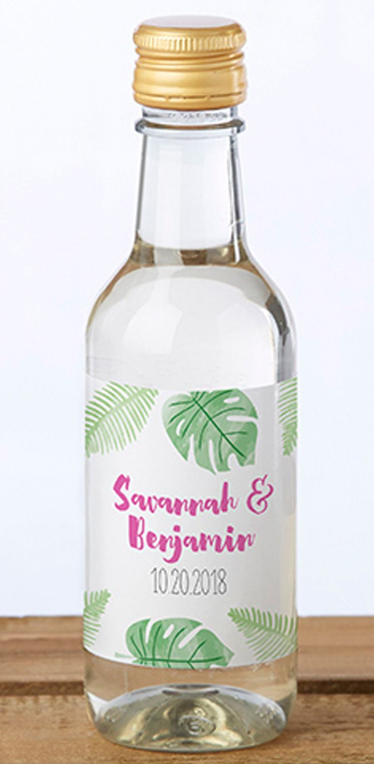 Personalized Pineapples and Palms Mini Wine Bottle Labels | Mini ...