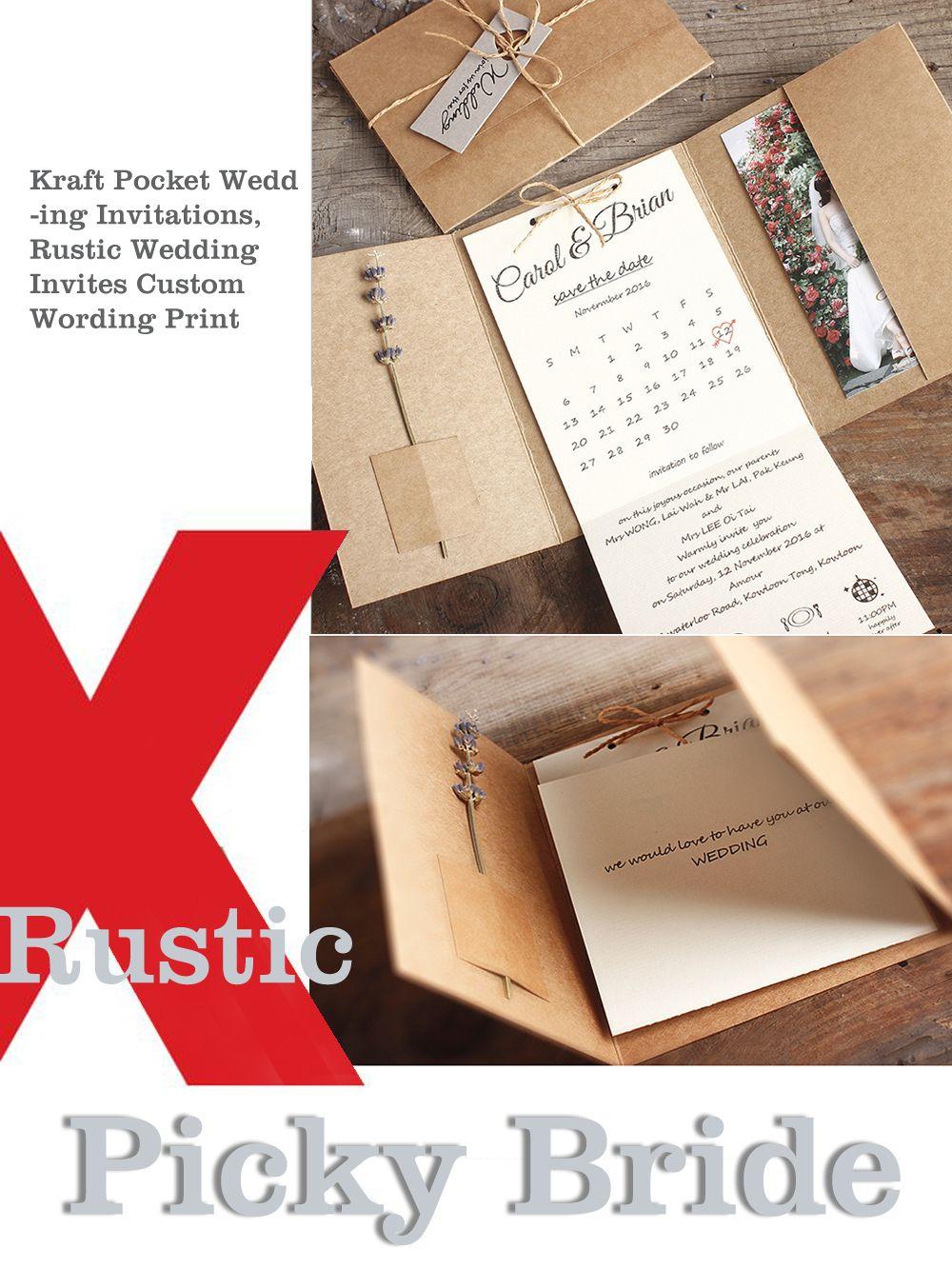 67a9ee230d878 Kraft Pocket Wedding Invitations, Rustic Wedding Invites Custom ...