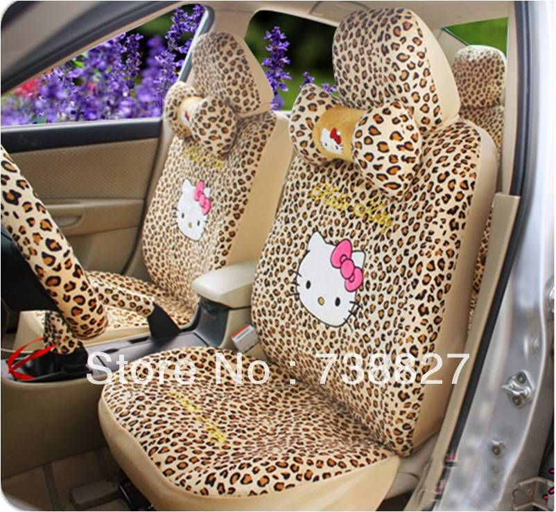 Excellent 18Pcs A Set Leopoard Hello Kitty Seat Cover Set Car Alphanode Cool Chair Designs And Ideas Alphanodeonline