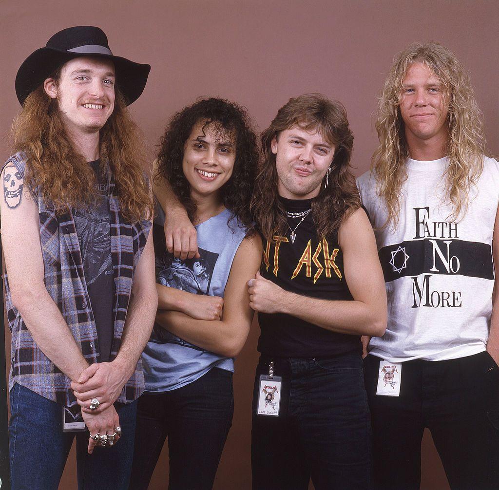 Cliff Burton Kirk Hammett Lars Ulrich And James Hetfield Of Metallica James Hetfield Cliff Burton