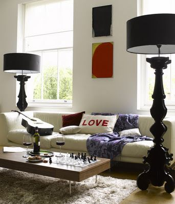 large side floor lamps behind the couch not in front. Black Bedroom Furniture Sets. Home Design Ideas
