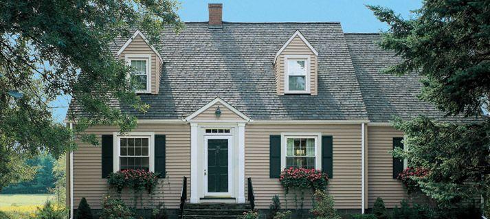 Beige Vinyl Siding W Hunter Green Shutters Door House Paint Exterior House Exterior Shutters Exterior