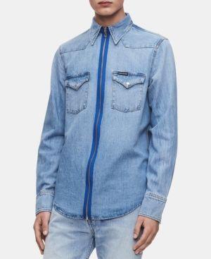 adf2637d6d4 Calvin Klein Jeans Men s Foundation Western Shirt - Blue 2XL