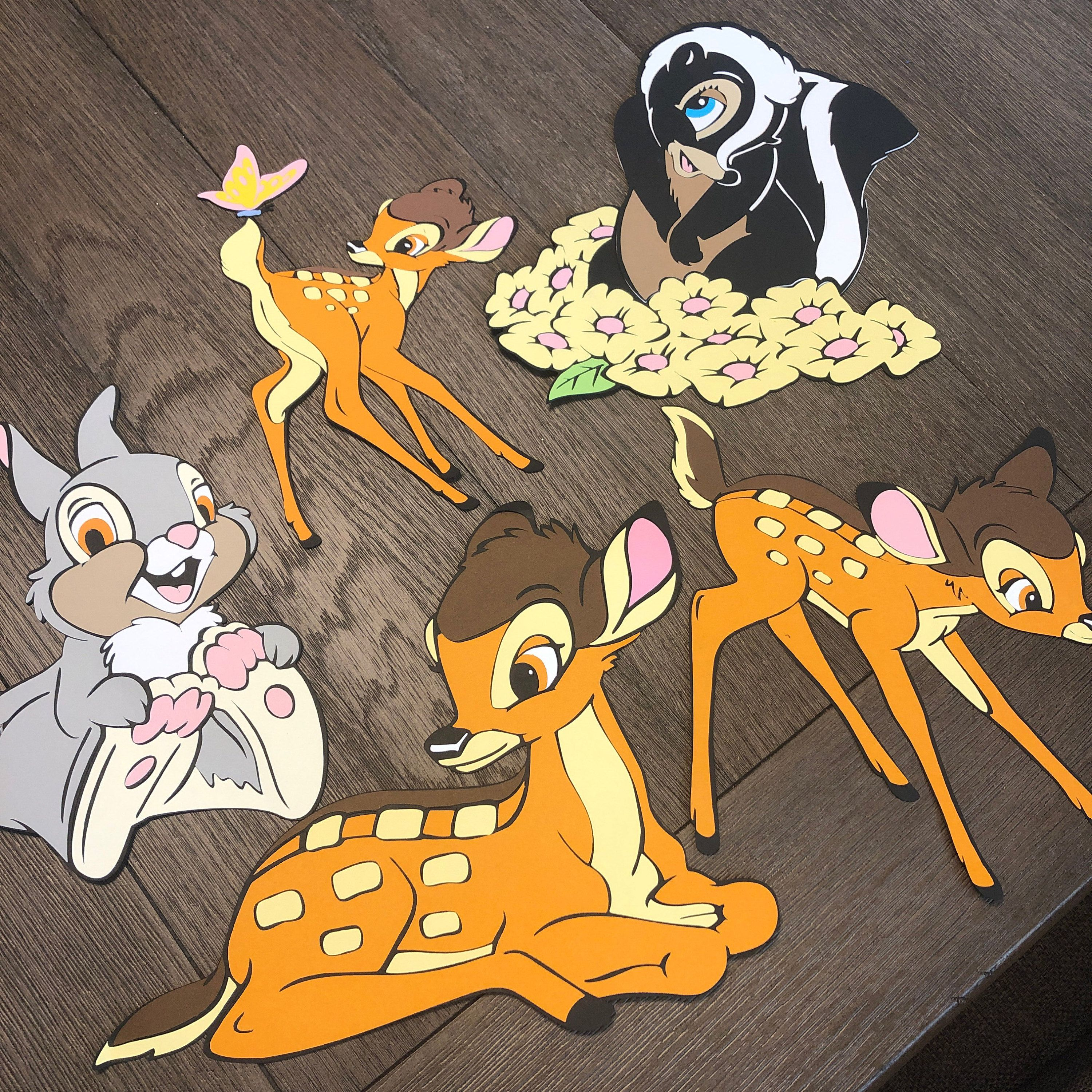 Die cutting Card Toppers Bambi characters