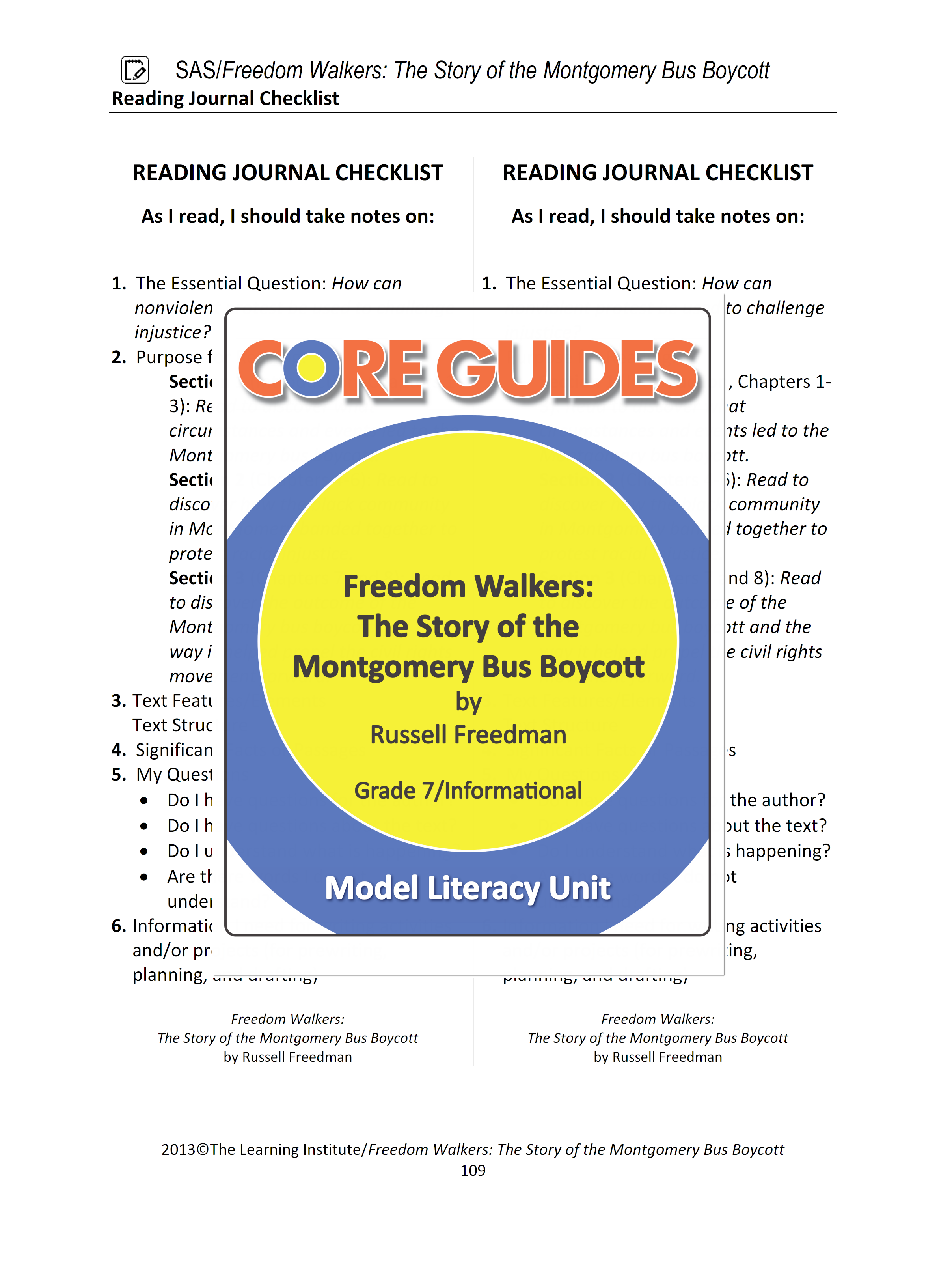 Download This Free Pdf Of Our Reading Journal Checklist For Use With  Download This Free Pdf Of Our Reading Journal Checklist For Use With  Freedom Walkers The Story Of The Montgomery Bus Boycott This Checklist  Can Also Be