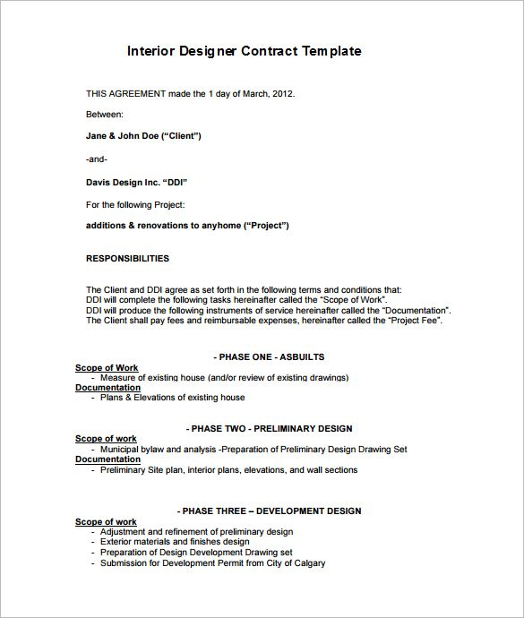 Interior designer contract templates free word pdf