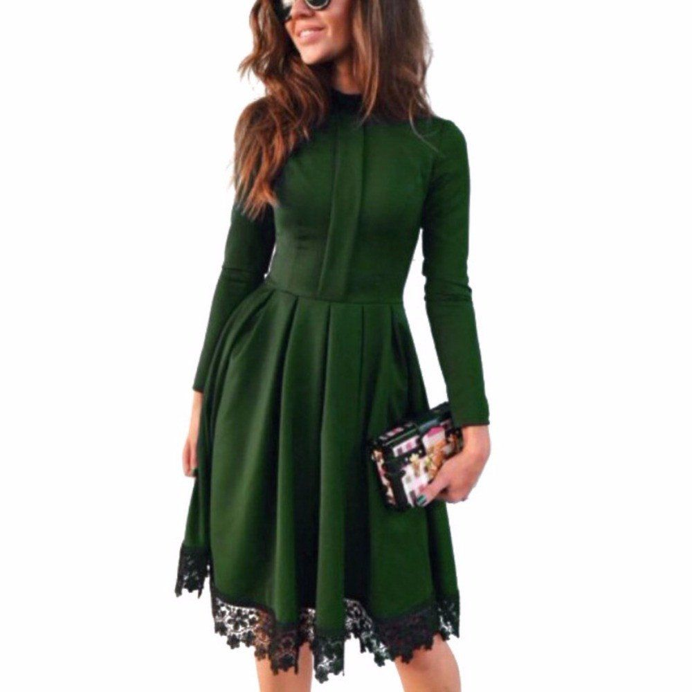 Women long sleeve vintage kneelength lace patchwork dress dresses