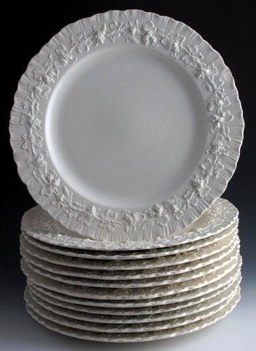 12 Wedgwood Plates Cream On Cream Shell Edge Moulded