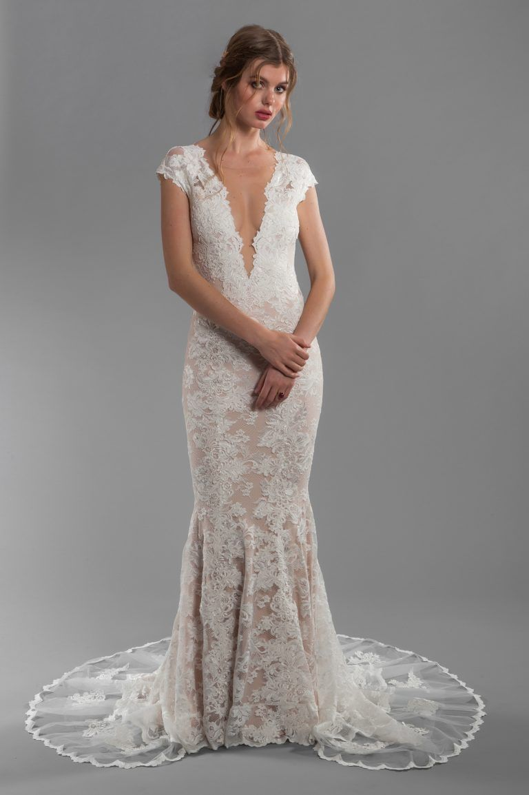 Cap sleeve all lace deep vneck fit and flare wedding