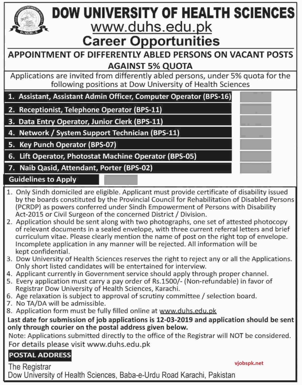 Pin By Vjobspk Net On Govt Jobs 2019 Health Science Dow