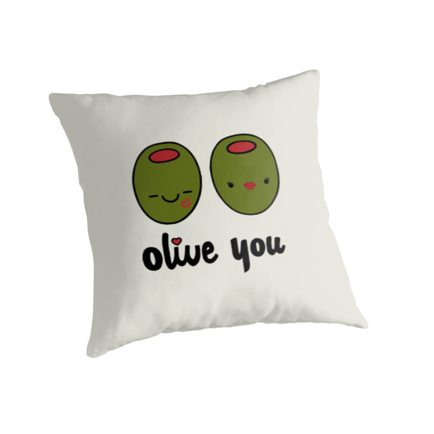 olive you, throw pillow, cute pillow, puns, punny, couples, anniversary gifts, love, marriage ...