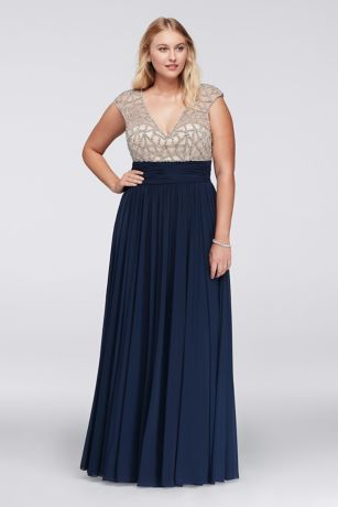 Jeweled Bodice Plus Size Dress With Cap Sleeves Style 1596w Prom