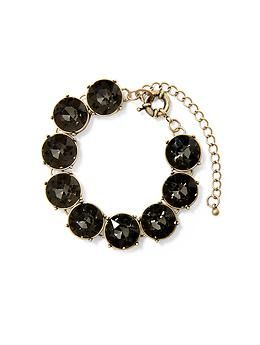 Black Sabine Round Faceted Row Bracelet | Piperlime $35