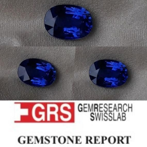 4 94 Ct Grs Royal Blue Sapphire Premium Handcrafted Cushion Etsy Blue Sapphire Royal Blue Sapphire Pendant