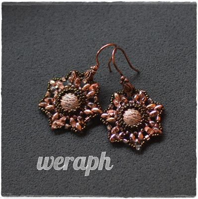 Earrings with superduo and copper beads.