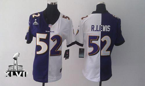 2fd513895 Nike Ravens  52 Ray Lewis Purple White Super Bowl XLVII Women s Embroidered  NFL Elite Split Jersey! Only  24.50USD