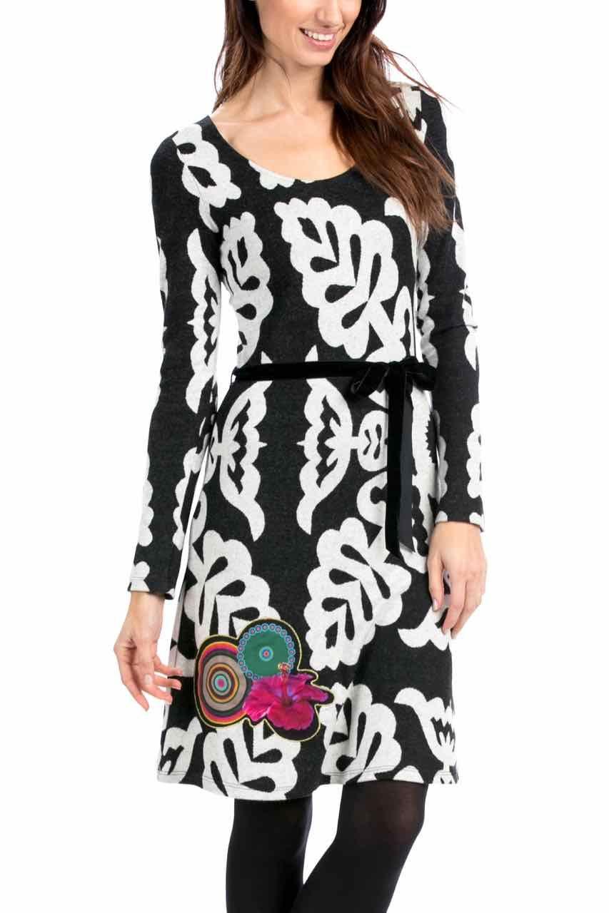 Desigual Dress Tati, Black and White