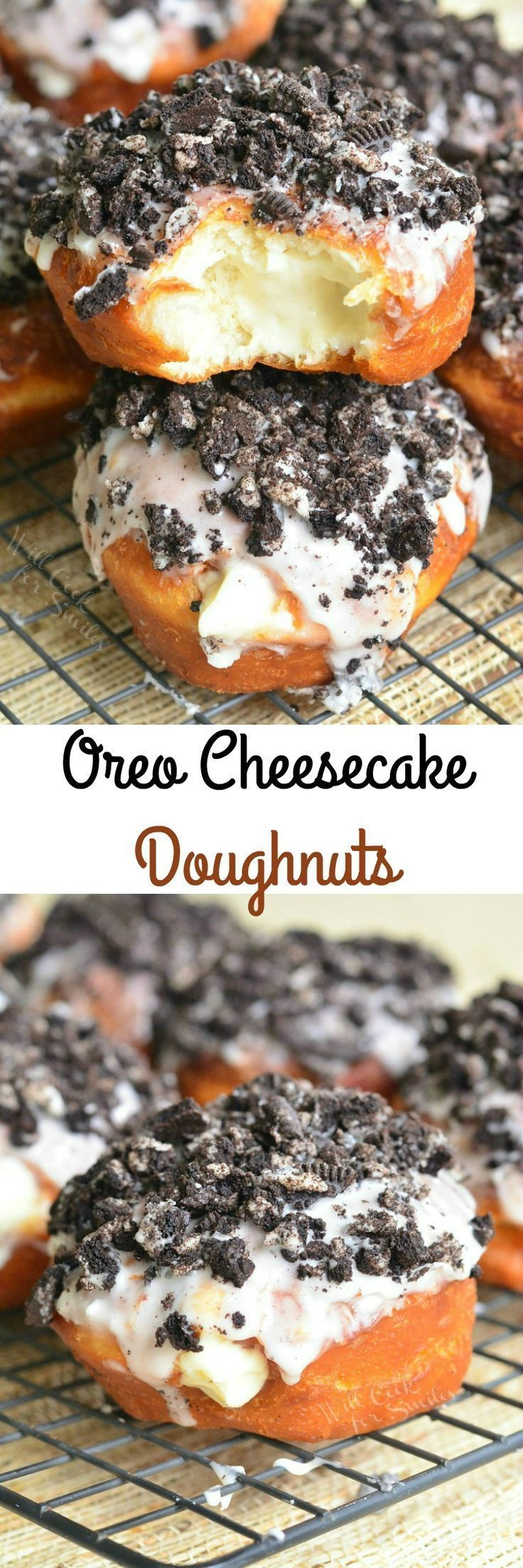 Cheesecake Doughnuts. Easy doughnuts stuffed with cheesecake mixture and topped with sweet glaze and crushed Oreo cookies.