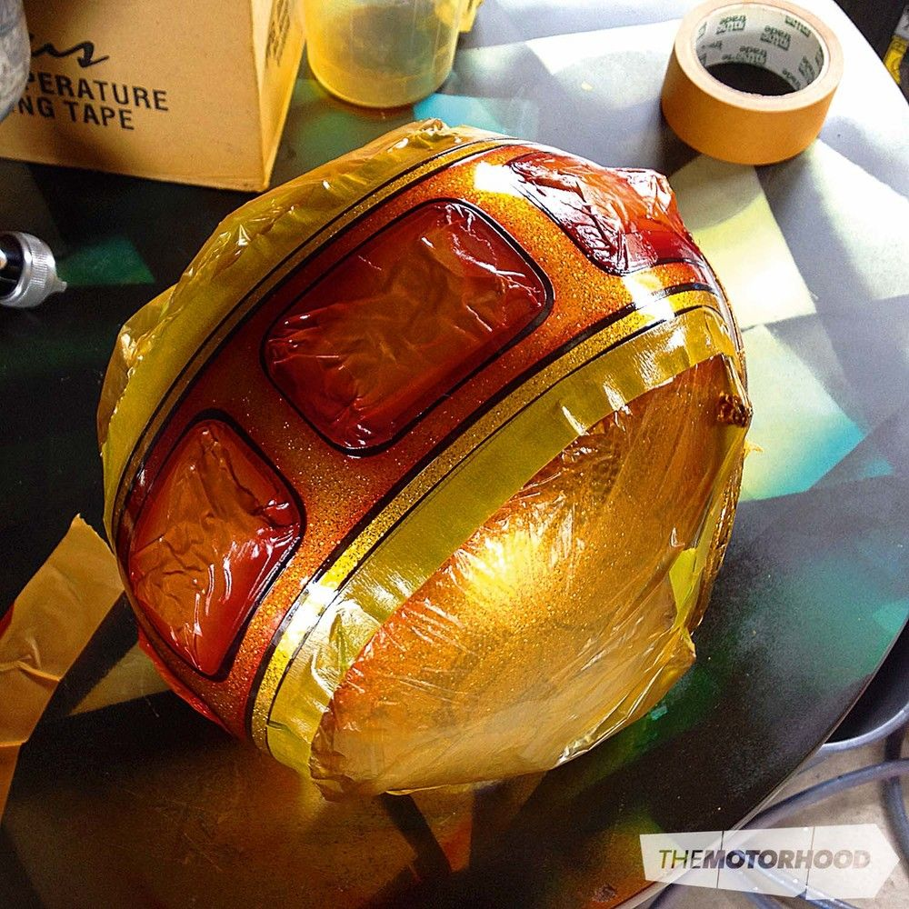 How to Tape fade candy paint 1970 style motorcycle helmet