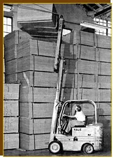 Yale truck with triple lift attachment, early 1960s (photo courtesy of Yale Materials Handling Corporation)