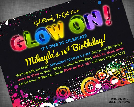 Glow Neon Black Light Party Customized Printable By Chebellacarta