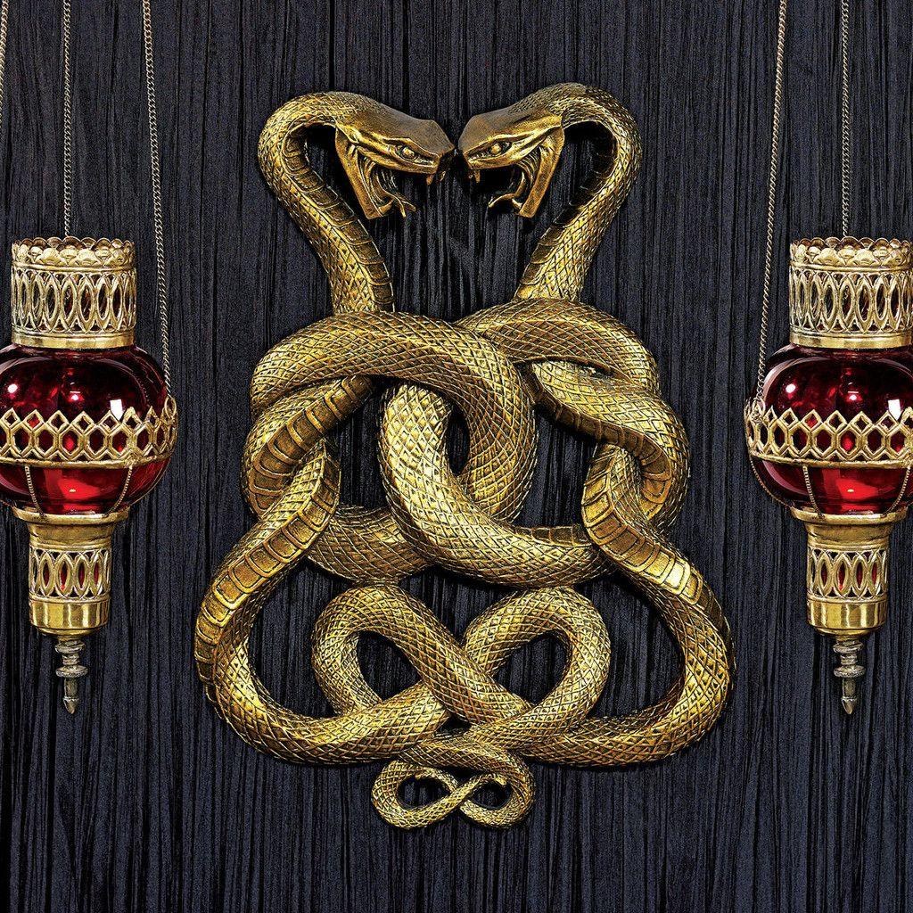 Egyptian Twin Cobras Legendary Infinity Symbol Regal Wall Plaque