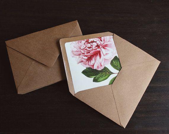 Kraft Envelopes Pink Peony Envelope Liners 10 By Oakandorchid 20 00