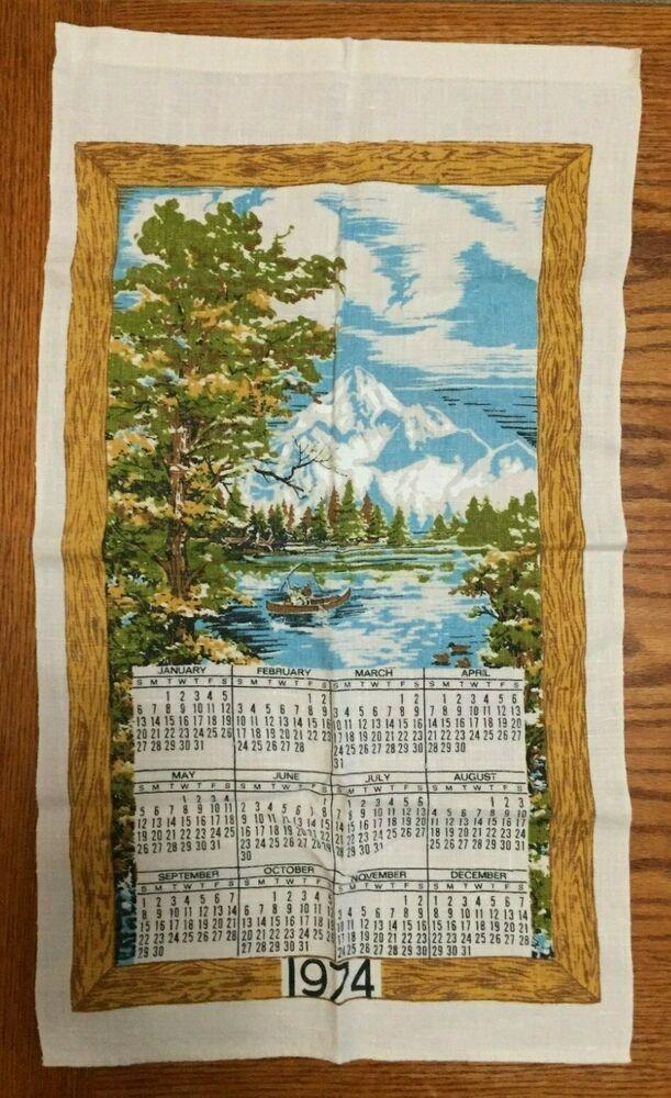 Vintage Kitchen Calendar Hand Towel 1974 Decor Mountain