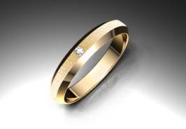Alianza de oro rojo de 18K modelo Trapecio 3,5 mm de calibre 1 diamante 1,75mm acabado mate grueso #bodas #alianzas #novia | cnavarro.com