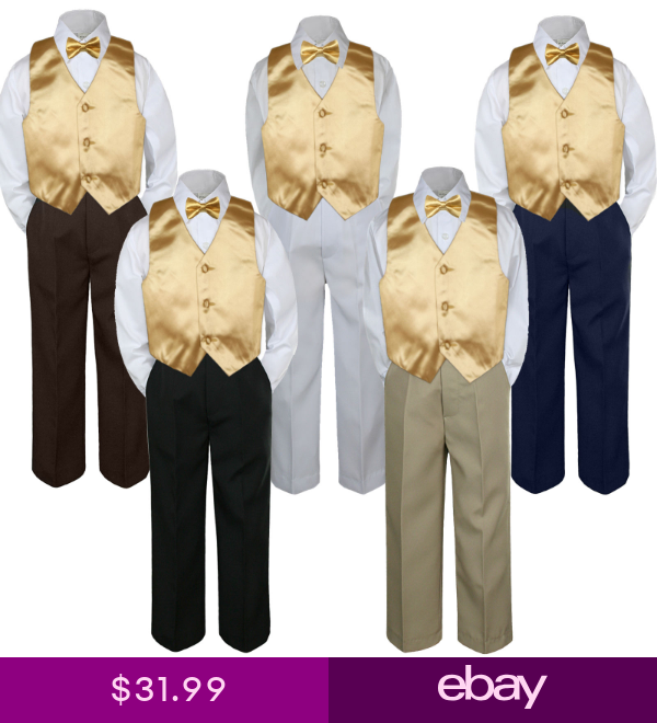 6pc Formal Wedding Boys Vest Sets Suits Satin Yellow Necktie Baby to Teen 7