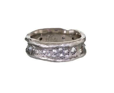 Todd Pownell   Hammered Concave Band with Inverted Diamonds in Occasion The Alternative Wedding at TWISTonline