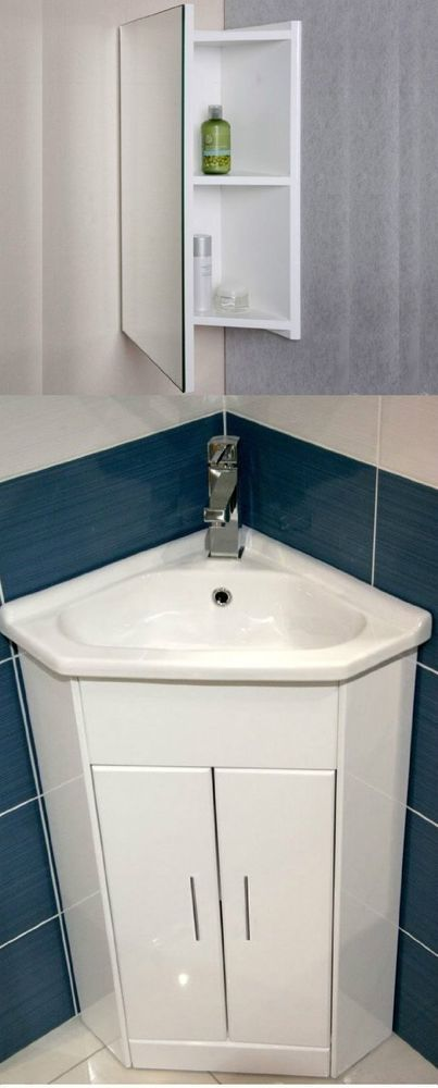 White Compact Corner Vanity Unit Bathroom Cloakroom Furniture Sink Cabinet Basin In Home Furniture Bathroom Units Bathroom Furniture Sink Corner Vanity Unit
