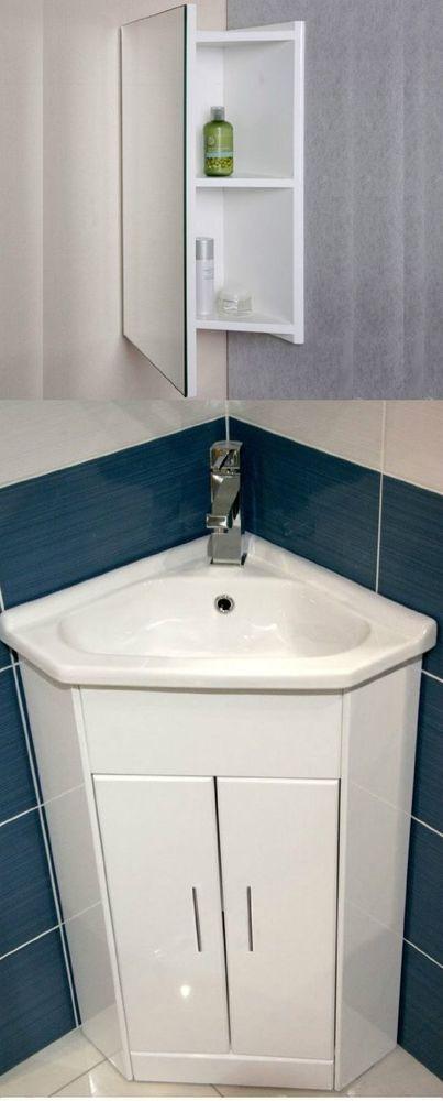 White Compact Corner Vanity Unit Bathroom Cloakroom Furniture Sink Cabinet Basin In Home Furniture Bathroom Furniture Sink Bathroom Units Corner Vanity Unit