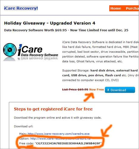 icare format recovery registration code