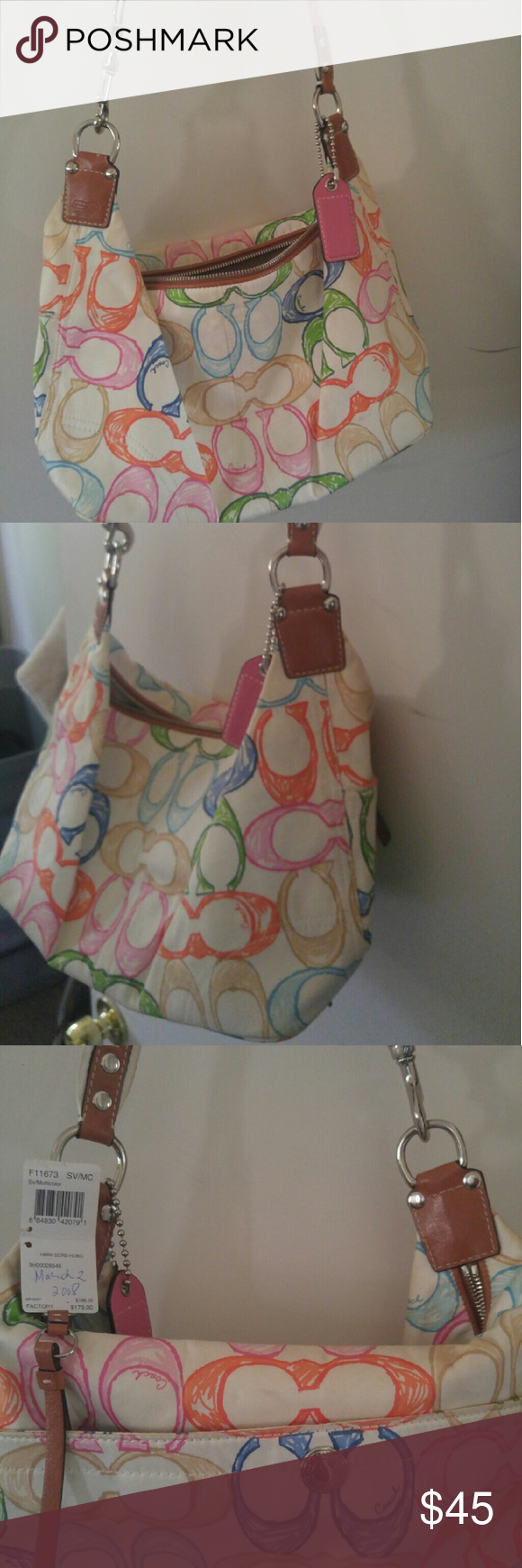 Coach Slouchy shoulder bag Coach bag- Summery pastel colored C's, tan leather straps with pink cloth strip, good condition but slightly faded fabric. Bought in 2008, but only worn a handful of times-was packed away in storage for years (hence slight fading). Original tag removed, but included. Great for spring and summer! Casual yet fun! Medium-sized bag. Coach Bags Shoulder Bags