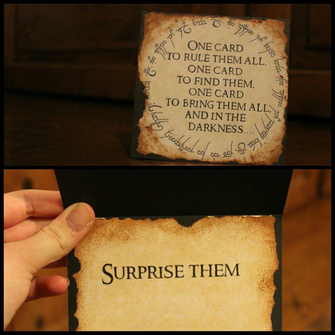 Lord Of The Rings Birthday Card The One Card To Rule Them All Geburtstagskarte Karten Geschenke