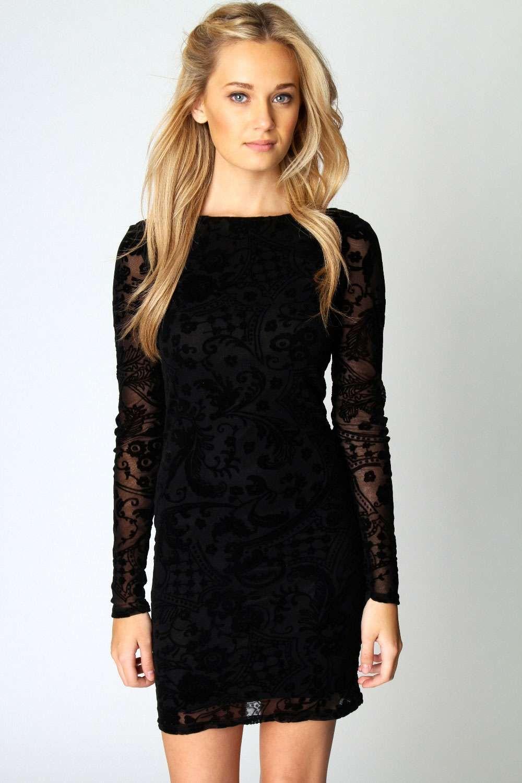 Zoe Flock Long Sleeve Bodycon Dress | Kleider, Junge frauen und ...