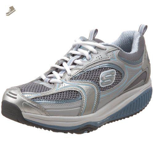 Skechers Shape Ups Womens Gym Shoes Black White Gray Laces 9.5