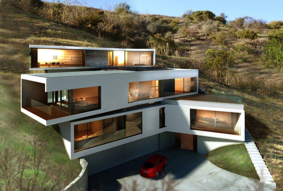 Los Angeles Hillside Modern Modern Mimari Luks Konaklar