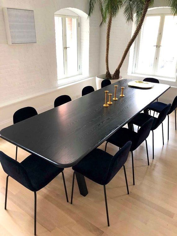 Black Modern Ash Dining Table Etsy In 2020 Dining Table Ash Dining Tables Modern Dining Table Black